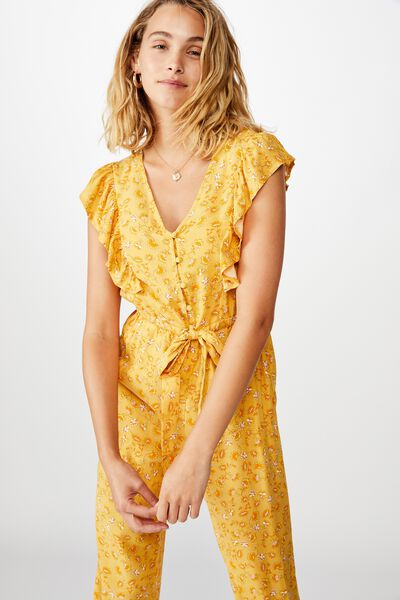 Woven Freddie Ruffle Jumpsuit, RACHAEL FLORAL BRIGHT GOLD