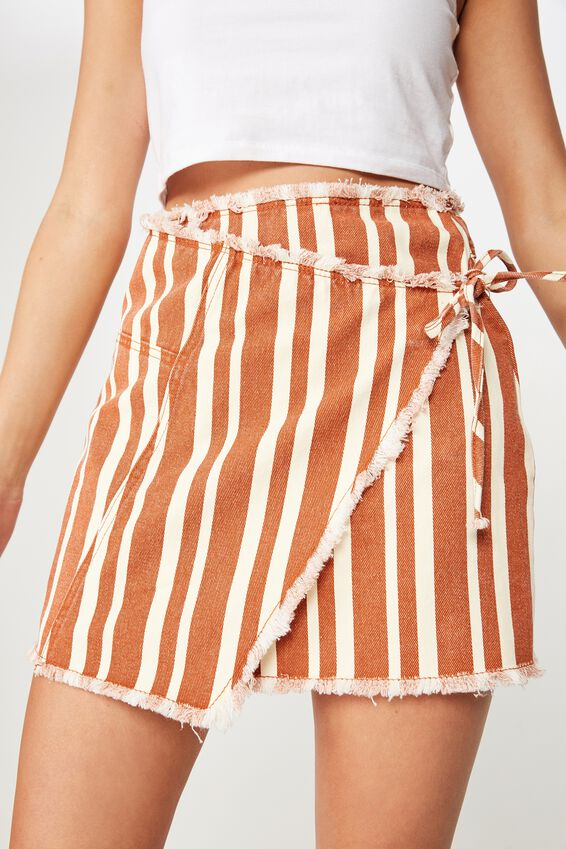 Wrap Denim Mini Skirt, LOUISE STRIPE RUST TAN