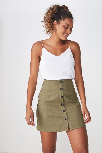 Woven Medina Mini Skirt, KHAKI