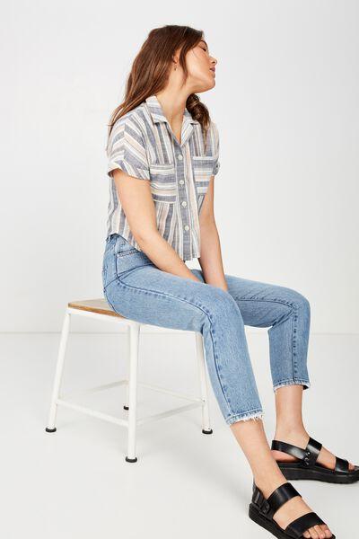 Erin Short Sleeve Shirt, LYDIA MULTI STRIPE MOOD INDIGO