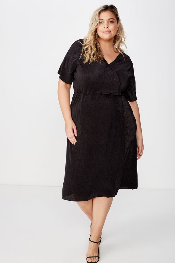 Curve Midi V Neck Dress, BLACK