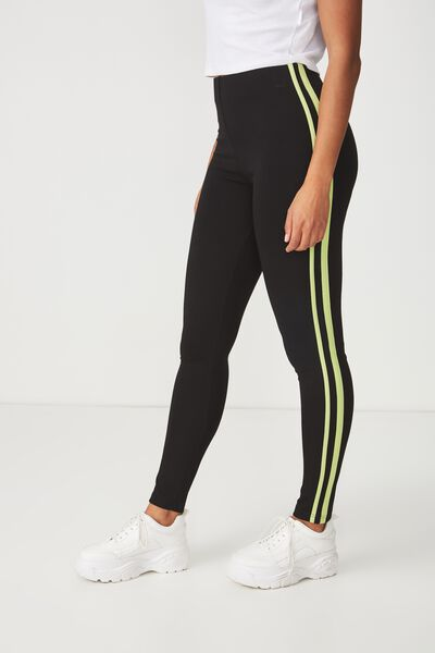 Dantea Legging, BLACK/GREEN GLOW SIDE STRIPES