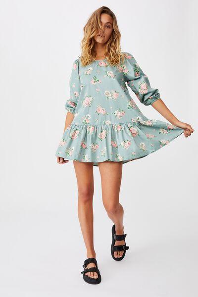 Woven Joselyn Long Sleeve Smock Mini Dress - Petit, KIRSTY ROSE LUSH GREEN
