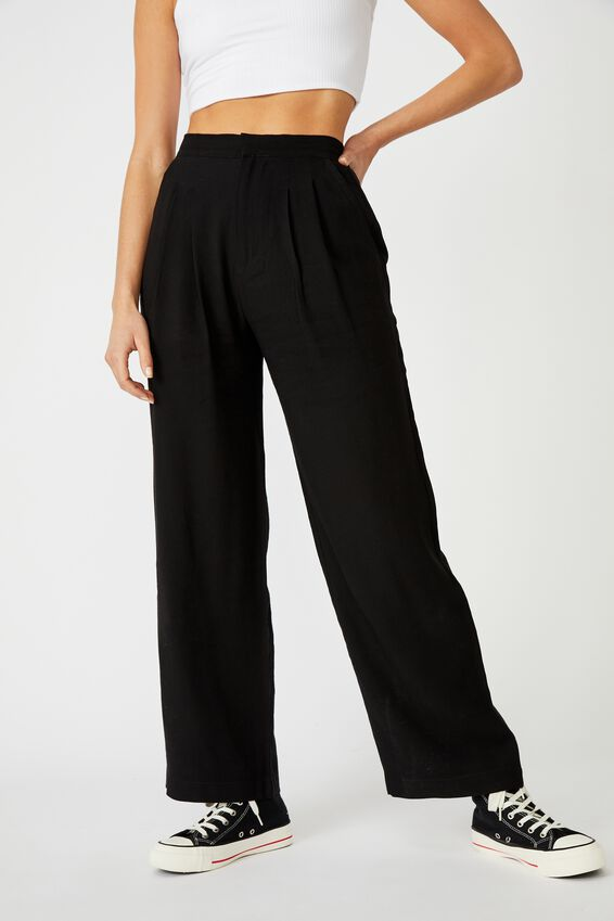 Drapey Wide Leg Pant, BLACK
