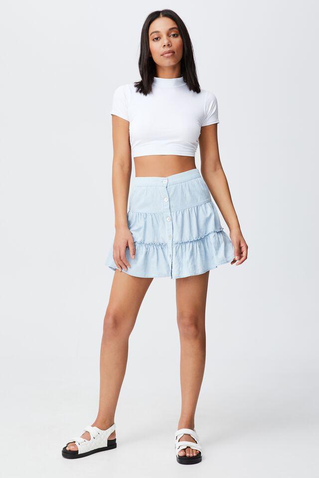 Woven Tawni Tiered Mini Skirt, LIGHT CHAMBRAY