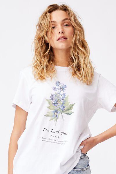 Classic Birthday Flower Graphic T Shirt, JULY BIRTHFLOWER/WHITE
