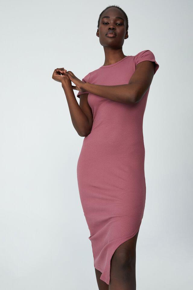 Essential Split Short Sleeve Midi Dress, WINTER BERRY