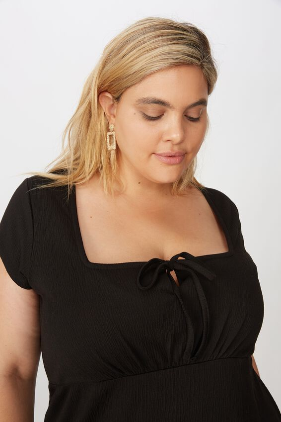 Curve Yasmine Gathered Short Sleeve Mini Dress, BLACK