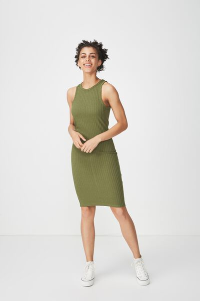 Lena Midi Dress, KHAKI/KAHKI RIB TWIST