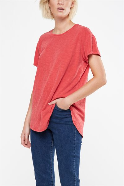 The One Boyfriend Crew Tee, WASHED CHERRY RED