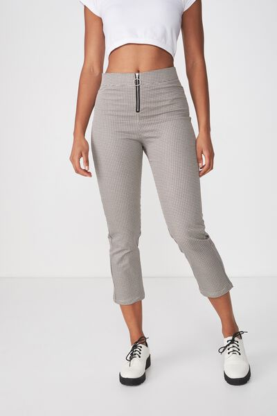 Gemma Capri Pant, MILLIE HOUNDSTOOTH COCOA BROWN