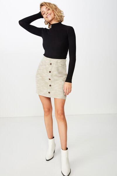 Gia Button Mini Skirt, SILVER SAGE TWIST