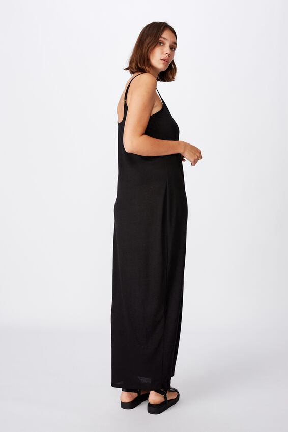Alessandra Strappy Split Front Midi Dress, BLACK