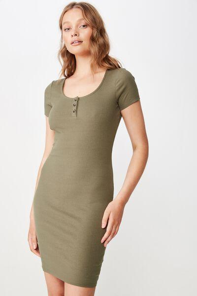 Gabby Short Sleeve Mini Dress, SOFT KHAKI RIB
