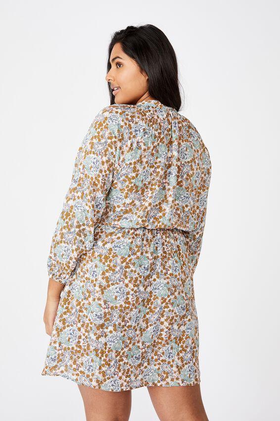 Curve Laura Mini Dress, EMILY FLORAL PAISLEY WHITE/GOLD SPARKLE