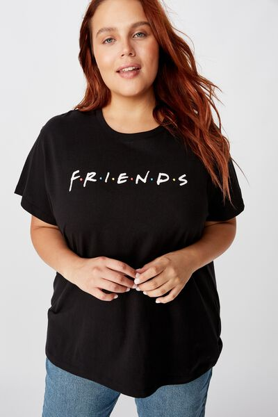 Curve Graphic License Tee, LCN WB FRIENDS LOGO/BLACK