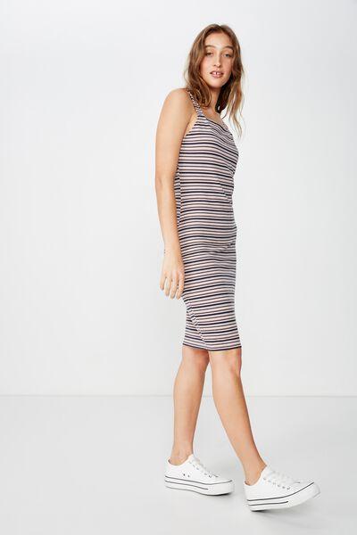 Lily Bodycon Dress, ABI STRIPE CLOUD GREY