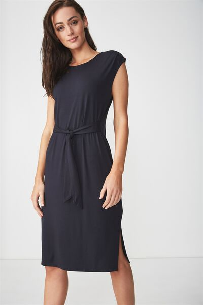 Fiona Tie Waist Midi Dress, SPACE NAVY