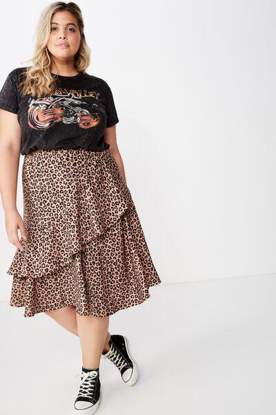 Curve Ruffle Midi Skirt, KRISTY LEOPARD