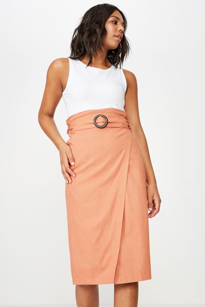 Woven Melanie Wrap Midi Skirt, SUNBURN- L