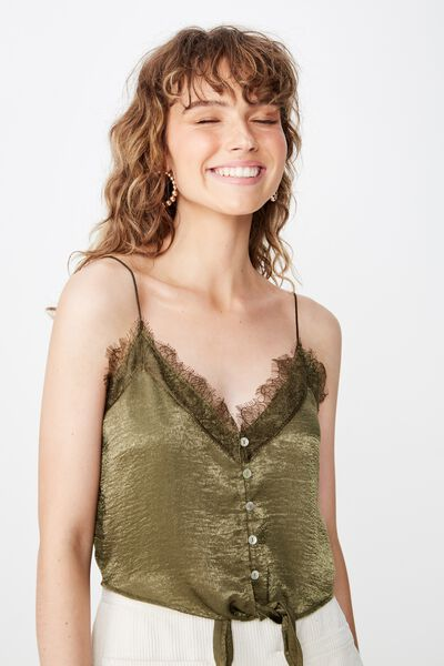 Rochelle Lace Cami, OLIVE NIGHT