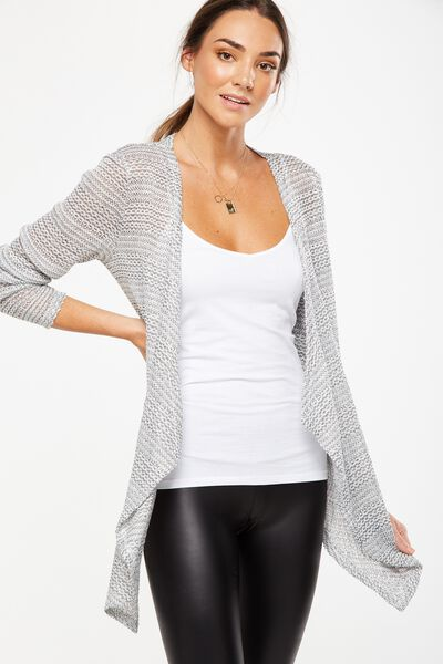Short Wilma Cardigan, GREY WHITE TWIST