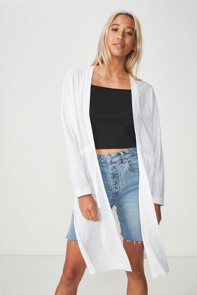 Mila Long Sleeve Cardigan, WHITE