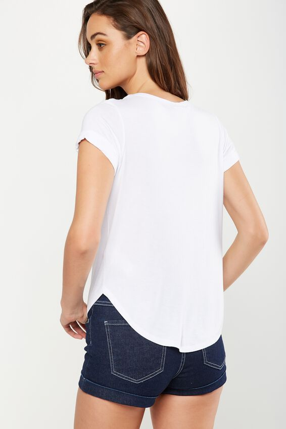 Kathleen Short Sleeve Top, WHITE