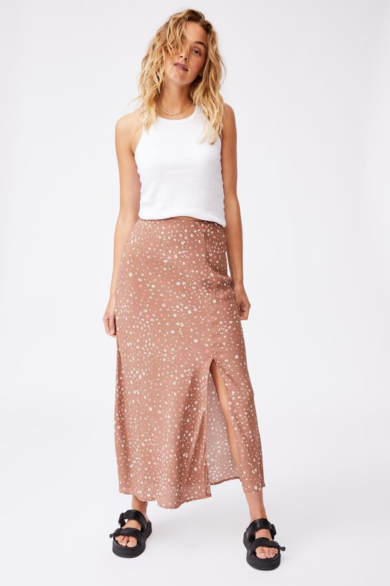 All Day Split Skirt, HEATHER DITSY HERITAGE BROWN
