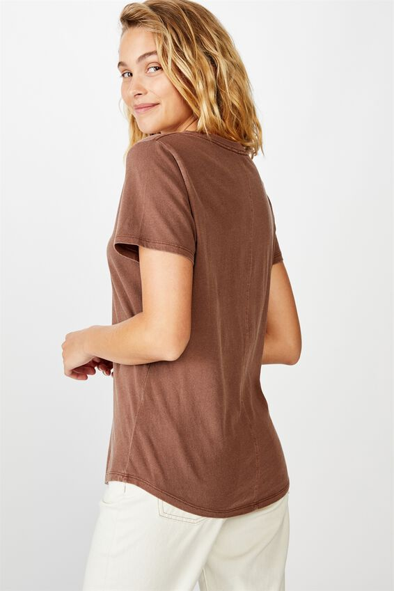 The One Fitted V Tee, WASHED FRIAR BROWN