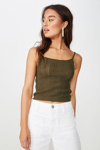Square Neck Tank, BURNT OLIVE