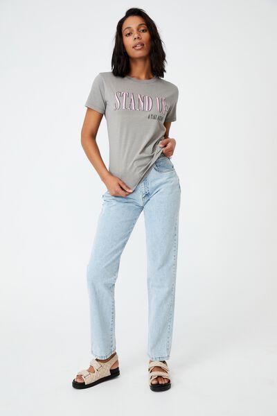 Classic Slogan T Shirt, STAND UP/THUNDER GREY