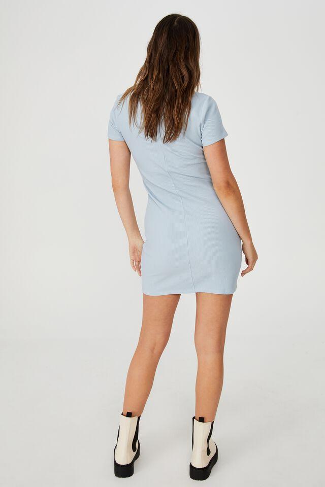 Ziggy Zip Neck Short Sleeve Mini Dress, NEW WAVE BLUE