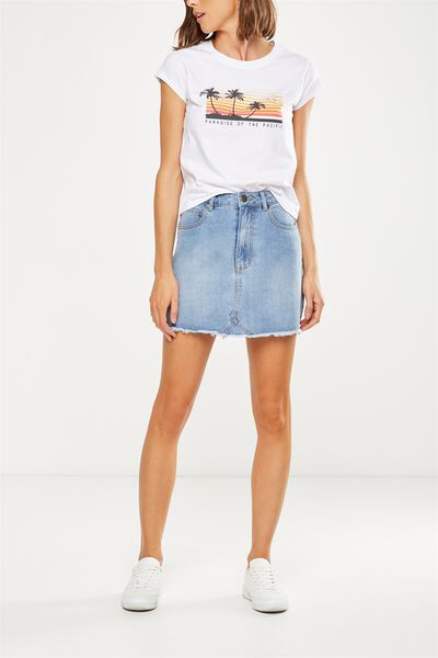The Re-Made Mini Denim Skirt, BANDANA BLUE