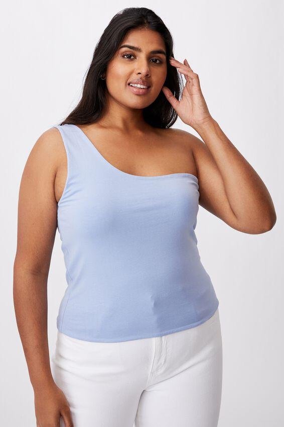 Curve One Shoulder Sleeveless Top, POWDER BLUE
