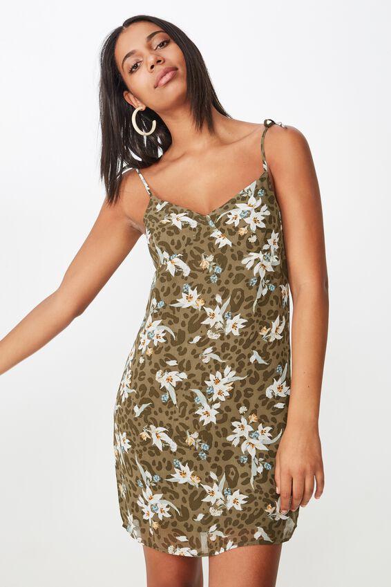 Woven Valentine Mini Dress, LISA ANIMAL FLORAL BURNT OLIVE