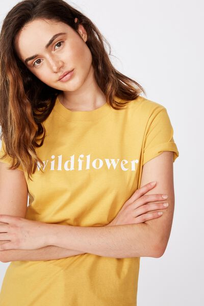 Classic Slogan T Shirt, WILDFLOWER/BRIGHT GOLD