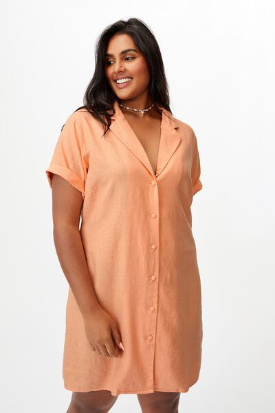 Curve Shirt Dress, BRUSHED PEACH