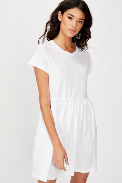Tina Babydoll Tshirt Dress, WHITE