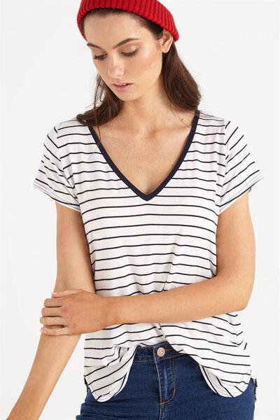 Keira Short Sleeve V-Neck T Shirt, JULIE STRIPE WHITE/MOONLIGHT