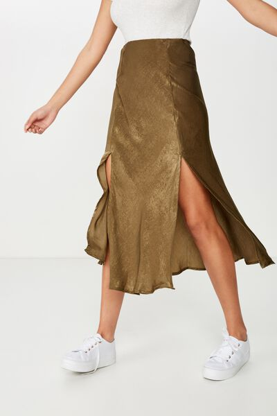 Woven Luna Bias Midi Skirt, BURNT OLIVE