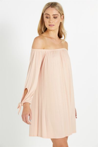 Kn Lush Off The Shoulder Dress, PINK SAND