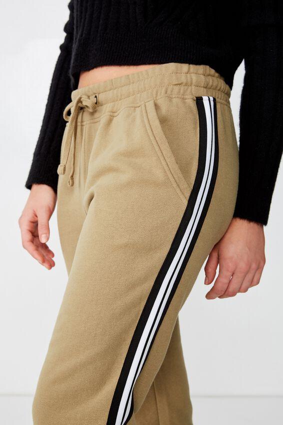 Slim Fit Trackpant, LIGHT OLIVE WHITE/BLACK SIDE TAPE