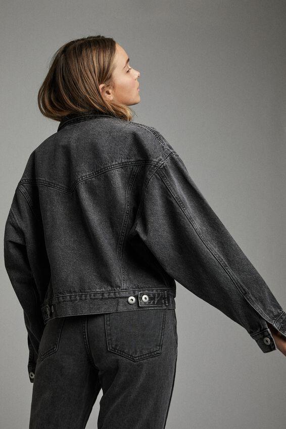 90 S Denim Jacket, RAVEN BLACK