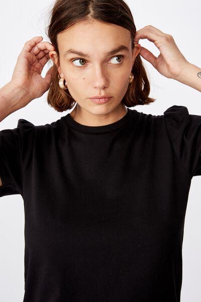 Puff Sleeve Short Sleeve Top, BLACK