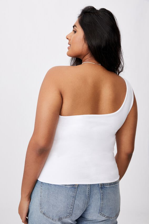 Curve One Shoulder Sleeveless Top, WHITE