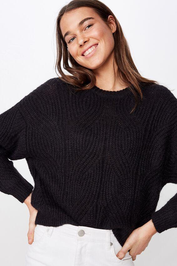 Sari Slouchy Pointelle Pullover, BLACK