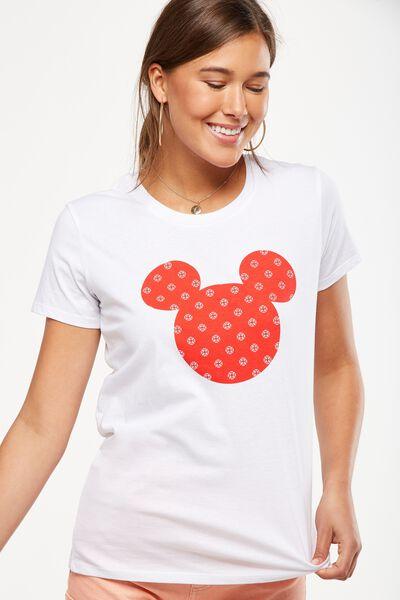 Tbar Fox Graphic T Shirt, LCN MICKEY MEDALLION/WHITE