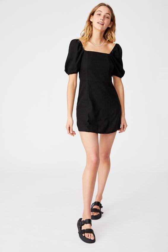Woven Leona Bell Sleeve Mini Dress, BLACK