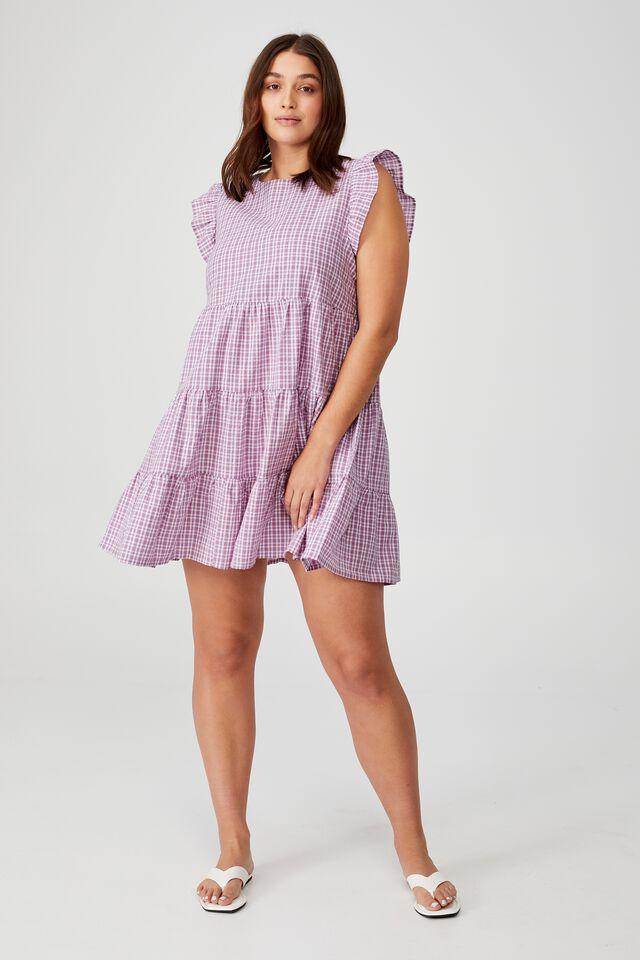 Curve Frill Sleeve Mini Dress, DOLLY MICRO CHECK LAVENDER